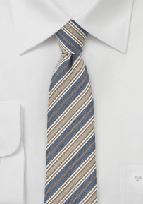 Trendy Skinny Tie in Denim Blue and Beige