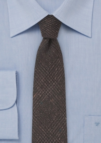 Dark Espresso Brown Wool Tie with Glen Check Print