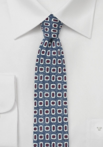 MOD Print Wool Tie in Blue, Red, Cream