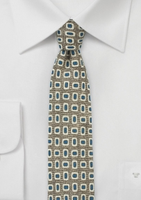 MOD Print Wool Tie in Olive, Blue, and Cream