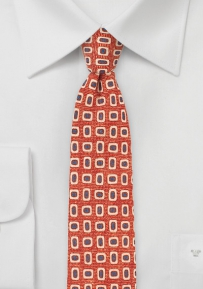 MOD Print Wool Tie in Orange, Blue, Cream
