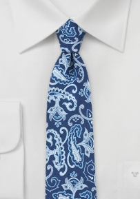 Italian Silk Paisley Tie in Blues