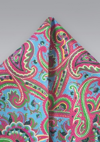 Aqua, Pink, and Lime Paisley Pocket Square