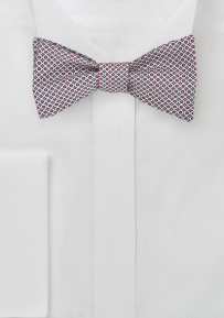 Graphic Print Silk Bow Tie in Blue, Red, Tan