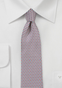 MOD Print Silk Tie in Blue, Red, Silver
