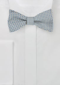 Graphic Print Silk Bow Tie in Blue, Yellow, White