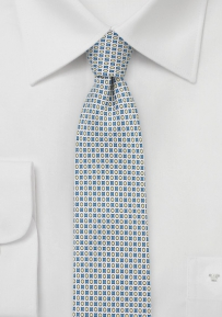 MOD Print Silk Tie in Light Blue and Yellow