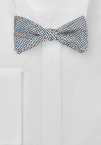 Silver and Blue Graphic Print Bow Tie
