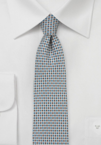 Trendy MOD Print Silk Tie in Gray and Blue