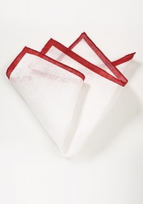 Italian Linen Pocket Square in White with Red Bordering