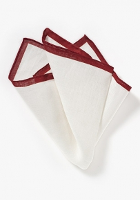 White Linen Pocket Square with Burgundy Edge