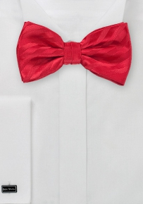 Pre-Tied Red Bow Tie with Red Stripe Pattern