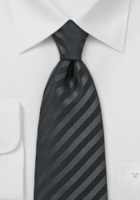 Formal Black Mens Neck Tie in XL Length