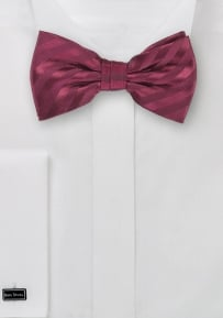 Striped Mens Bow Tie in Solid Burgundy