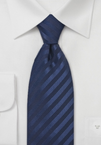 Elegant Dark Navy Blue Striped Tie in Extra Long Length