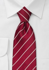Cherry-Red Striped Tie in Kids Size