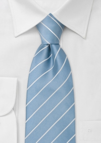 Sky Blue and White Striped Necktie