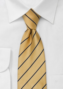 Striped Extra Long Yellow and Navy Mens Necktie