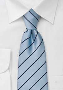 Light Blue and Navy Striped Kids Tie
