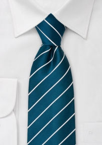 Kids Striped Necktie in Turquoise and White