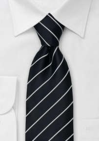 Black Necktie with Narrow Light-Silver Stripes