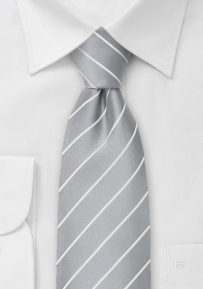 Elegant Striped Mens Tie in Silver & White
