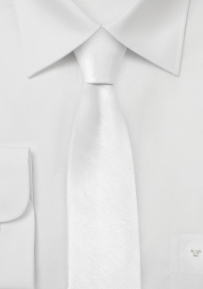White Skinny Tie in Solid Color