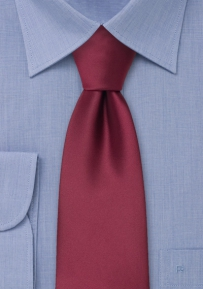 Burgundy-Red Necktie in Extra Long