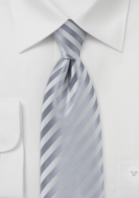 Classy Silver Mens Tie in Extra Long Length