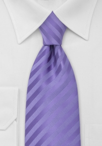 Subtle Striped XL Length Tie in Lavender-Purple