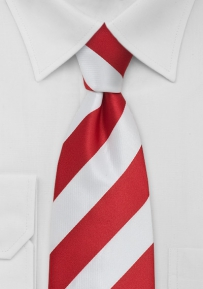Red and White Striped Tie in XL Length