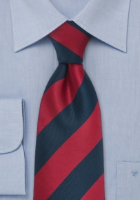 Striped Tall Man's Necktie Cherry and Navy