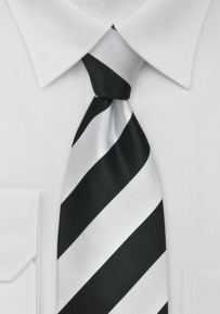 Trendy Striped Tie Black Silver