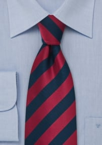Blue and Red Striped Kids Tie