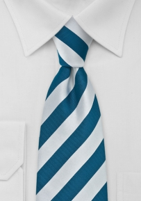 Striped Tie Turquoise and Silver