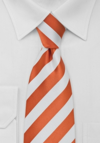 Bright Striped Kids Tie Orange-White