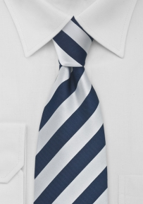 Preppy Striped Tie Navy and Silver