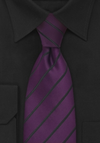 XL Length Mens Tie in Eggplant Purple & Black