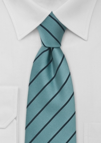 Striped Mens Tie in Teal Turquoise
