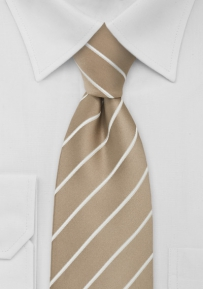 Striped Tie in Flax-Brown and White for Taller Men