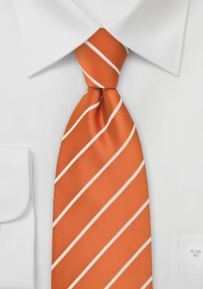 XL Persimmon Orange Striped Neck Tie