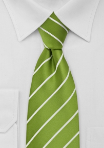 Grass Green and White Extra Long Tie
