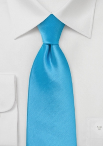 Extra Long Tie in Cyan Blue