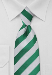 Boys Repp Striped Tie in Yacht Green and White