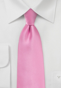 Bright Carnation Pink Tie in Extra Long Length