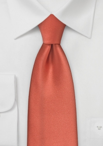 Extra Long Mens Tie in Dark Coral Red