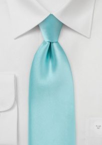 Solid XL Length Necktie in Pool Blue