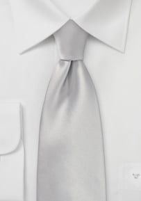 Solid Color XL Length Tie in Light Silver