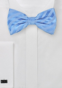 Baby Blue Striped Patterned Bow Tie