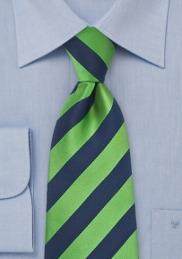 Striped Kids Tie in Navy and Green